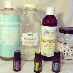 DIY Natural Moisturizing Body wash: Castile Soap, Almond Oil, Coconut Oil, Essential Oils (quart size recipe)