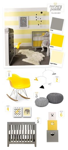 Gray and Yellow nursery color inspiration www.StorkIsComing.com