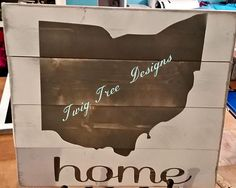 State of Ohio sign in gray - each sign comes with a small heart to put on your hometown