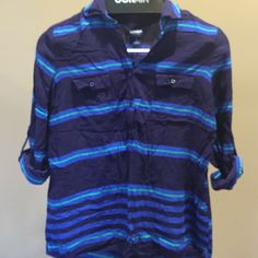 Old Navy top 3/4 convertible sleeve top. Navy blue with green and lighter blue stripes. Old Navy Tops Blouses