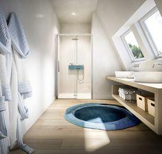 Kleines helles Bad mit Dachschräge und Nischendusche