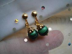 Ohrclips,Mini Malachit, grün von kunstpause auf DaWanda.com