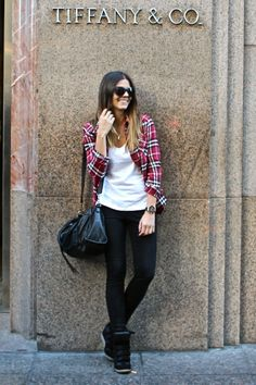 ombre hair, plaid long-sleeve, white tee, perfect bag, skinny jeans, and badass sneakers.. love it all.