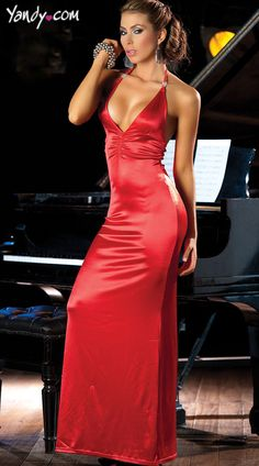 Long, V-neck gown with ruching on the waistline and gold embellishments on the halter ties. Sale Price:    $41.95
