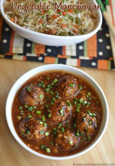 Vegetable Manchurian is a popular Indo Chinese recipe which serves as a great side dish for fried rice too.I am actually bored of manchurian recipes but this veg balls manchurian is sure a welcoming change and it was surprising to see the lil one t Veg Recipes, Indian Food Recipes, Asian Recipes, Vegetarian Recipes, Cooking Recipes, Oriental Recipes, Indian Foods, Gujarati Recipes