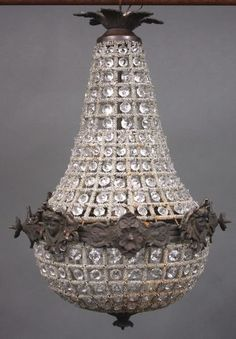 Reproduction French Empire Chandeliers   4042: 19th C. French Empire  Crystal Chandelier : Lot