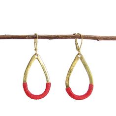 Crimson Threaded Earrings, #handmade in India. #ethicalstyle #fairtrade #worldfinds #fairtradestyle #fashionforgood