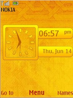 Download free Yellow Abstract Clock S40 Theme Mobile Theme Nokia mobile theme. Downloads hundreds of free 5300,6300,6267,6500 classic,6555,5310,5610,6301,6500 slide,6300i,5000,5220 XpressMusic,6600 slide,6600 fold,3600 slide,6233,6234,6270,6280,6208c,6700 classic,6303 classic,2700 classic,6600i slide,2730 classic,X3,6303i classic,X2 themes to your mobile.