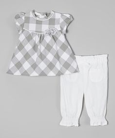 Look what I found on #zulily! Gray Plaid Cap-Sleeve Top & White Pants - Infant by Zip Zap #zulilyfinds