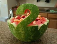 Watermelon Carving by Pascoucou - Modern - Food Carving Ideas - # Carving - - - - Watermelon Birthday Parties, Elmo Birthday, 2nd Birthday Parties, Summer Birthday, Second Birthday Ideas, Wiggles Birthday, Fruit Birthday Cake, Watermelon Carving, Watermelon Fruit