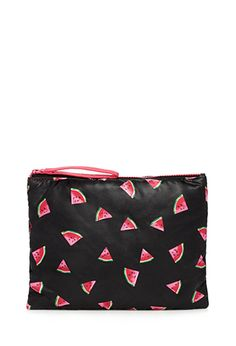 "Since your summery sweet tooth knows no bounds, this cosmetic pouch is outfitted with the most refreshing fruit of all - watermelon! Plus, its floppy construction and slick fabrication make it a total must-have for toting all your beach essentials (like sunblock and hair ties).  Zippered top Lightweight, fully lined Shell & lining: 100% polyester 8.5"" height x 10.25"" width x .35"" depth Imported"