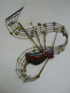 """Contemporary Metal Wall Art """"Bagpipes Musical Notes"""""""