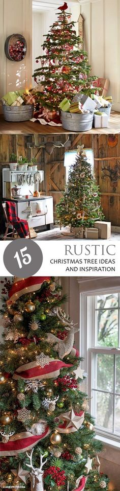 Rustic Themed Christmas Trees, Rustic Christmas Trees, Rustic Holiday Decor, Farmhouse Inspired Christmas Tree, Rustic Home, Rustic Holiday Decor, Easy Holiday Decor Ideas, Popular Pin.
