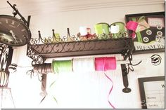 Craftroom storage ideas using simple and colorful everyday items.