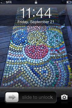 Bottle Cap Mosaic - Bar Backsplash Idea
