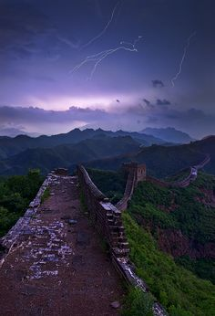 Lightning over the Great Wall of China.  Photograph Great Wall by Yan Zhang on 500px