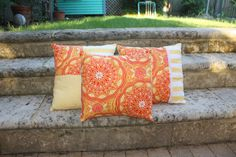 Bright 'SUN' Geometric Print Cushion  patterned by EmmiLouDesigns, $23.00