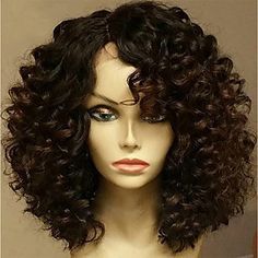 wigs that look real on sale at reasonable prices, buy Short Curly Bob Wigs Virgin Brazilian Human Hair Full Lace Bob Wigs For Aferican American Glueless Lace Front Human Hair Wigs from mobile site on Aliexpress Now! Wig Styles, Curly Hair Styles, Natural Hair Styles, Human Hair Lace Wigs, Human Hair Wigs, Short Lace Front Wigs, Front Lace, Short Wigs, Eva Hair
