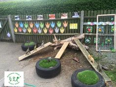 """So simple to make and so open ended. Like our FB page to find out more ides: """"EYFS outside ideas"""" Baby Garden Ideas, Garden Ideas Eyfs, Garden Projects, Eyfs Outdoor Area, Outdoor Areas, Outdoor Play, Eyfs Activities, Activities For Kids, Preschool Garden"""