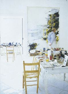 cy twombly in his studio in gaeta -- photographer unknown