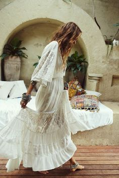 Dress: maxi white boho chic hipster wedding boho decor urban outfitters