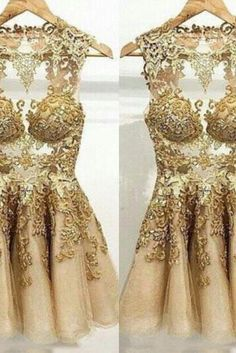 Gold Prom Dress,Short Prom Dress,Tulle Prom Dress,See Through Prom Dress,Lace Prom Dress,Gold Evening Dress, Short Evening Dress,Formal Dress, Homecoming Dresses, Graduation Dress, Cocktail Dress, Party Dress