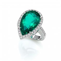 Today`s choice :: beautiful ring with one Aqua triplete and 48 diamonds :: SABION Jewelry Beautiful Rings, Heart Ring, Aqua, Gems, Fancy, Jewels, Diamond, Pretty Rings, Water