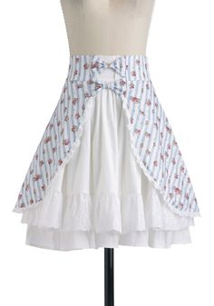 Primrose Picnic Skirt - Mid-length, Blue, Pink, Stripes, Bows, Casual, A-line, White, Floral, Eyelet, Ruffles, Summer