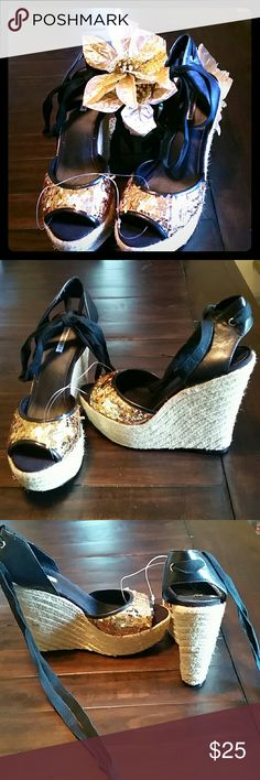 Lovely People Espadrilles Nwot; -) A Simply Stunning pair of Lovely People tie up espadrilles, in Black & Gold. 5 inch platform in the back with 1.5 inch in the front makes them comfy. A cute shoe you can dress it up ir down;-) Lovely People Shoes Espadrilles