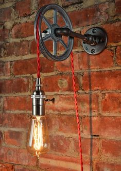 Wall Pulley Light – Vintage Industrial Cast Iron – – Wall Pulley Pendant – Industrial Pulley – Gears – Steampunk Light - All For Decoration Lampe Industrial, Vintage Industrial Decor, Vintage Decor, Industrial Design, Rustic Lighting, Unique Lighting, Industrial Lighting, Lighting Ideas, Pulley Light