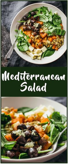 Mediterranean salad recipe - Enjoy this healthy Mediterranean salad with orzo pasta, baby spinach, basil, kalamata olives, and garlic -- all tossed together and drizzled with a balsamic dressing. via @savory_tooth