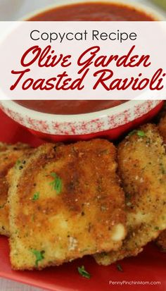 Olive Garden Copycat Recipe: Toasted Ravioli Copycat recipes | copycat restaurant recipes | Olive Garden Recipes | Italian Recipes | Appetizers | Snacks | Kid friendly recipes |