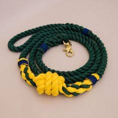 Buoy Rope dog handmade leash - pet supplies - dog leash - Green & yellow Soft cotton rope leash -Hand made cotton rope leash - The rope ends are spliced then whipped with Lasso's original knots for durability.
