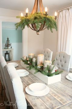 Christmas Tour - Farmhouse Table with birch candles.