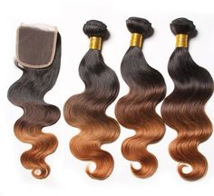 Ombre Brazilian Body Wave 3 Bundles Body With Closure //Price: $117.05 & FREE Shipping //     #Humanhair, #haironsale