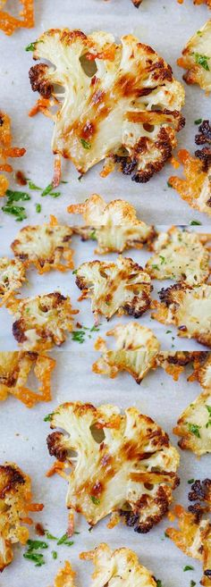 Parmesan Roasted Cauliflower – best cauliflower ever, baked in oven with butter, olive oil and Parmesan cheese. A perfect side dish Side Dish Recipes, Vegetable Recipes, Vegetarian Recipes, Healthy Recipes, Keto Recipes, Healthy Cooking, Healthy Snacks, Healthy Eating, Cooking Recipes