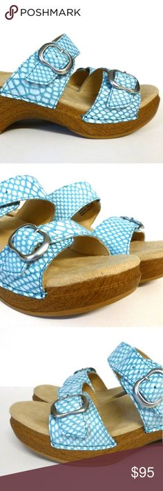 """Danko 39 Sophie blue snake sandal new w/o box Display shoes have been tried on but are not worn. Dual adjustable straps with buckle closures. 2.25"""" heel, 1.25"""" platform. Leather upper with manmade sole. New without box. Dansko Shoes Sandals"""