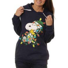 Peanuts Women's Snoopy Christmas Fleece Hoodie, Navy, Large