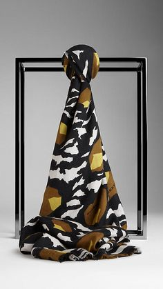 Abstract Floral Print Silk Cashmere Scarf | Burberry