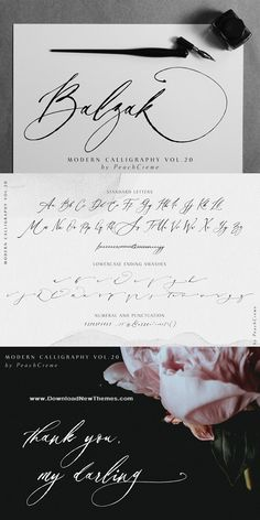 Fonts Handwriting Discover Balzak // Organic Calligraphy : Balzak includes uppercase and lowercase letters numerals a large range of punctuation and ligatures. All lowercase letters include ending swashes. Hand Lettering Alphabet, Calligraphy Alphabet, Calligraphy Fonts, Typography Fonts, Modern Calligraphy, Graffiti Alphabet, Islamic Calligraphy, Handwriting Tattoos, Handwriting Fonts