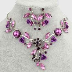 Schmuckset Kette + Ohrringe Silber Blumen Blätter Perle Violett schwarz Neu
