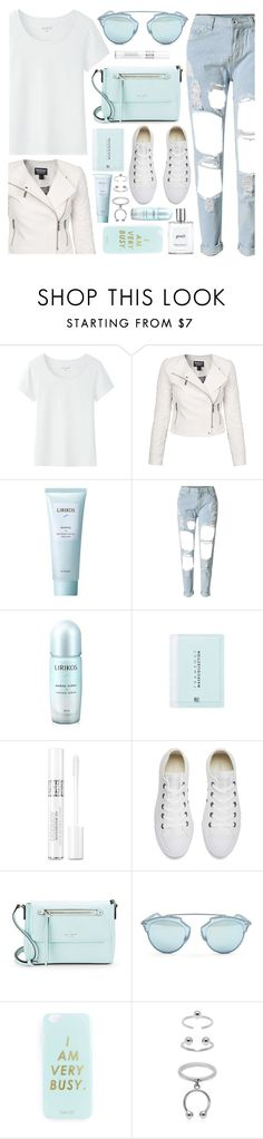 """Aqua White"" by monmondefou ❤ liked on Polyvore featuring Barbour International, Lirikos, Christian Dior, Converse, Kate Spade, Miss Selfridge, Maria Francesca Pepe and philosophy"