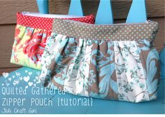 Jedi Craft Girl: Quilted Gathered Zipper Pouch Tutorial
