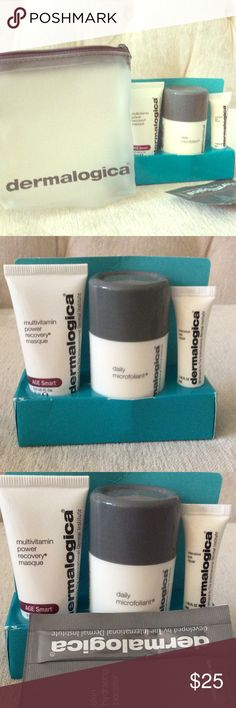Dermalogica Travel Kit Cheers! cheers to happy Skin.  Brand new - Daily Microfoliant .45 US FL OZ, MultiVitamin Power Revery Masque .5 US FL OZ, Intnesive Eye Repair .1 US FLOZ , Skin Hydrating Booster Dermalogica Makeup