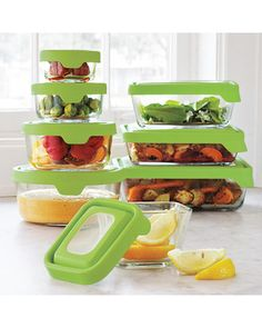 These durable food storage containers are freezer, microwave, oven, and dishwasher safe.