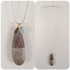 Simple Elegance: Dip-Dyed Champagne Gold Driftwood Pendant w/ Amazonite Charm On 14-Karat Gold-Plate Chain
