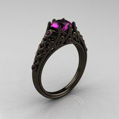 Classic 14K Black Gold 1.0 Carat Amethyst Lace Ring R175-14KBGAM. $2,299.00, via Etsy, jewelry, glamour ring, feminine, black ring, engagement ring, wedding ring, pinup