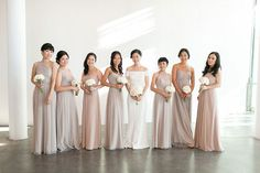 Bridesmaids gowns in different shades of neutral