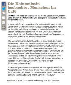 """Yes, No, Maybe?"" in the Frankfurter Neue Presse. www.journal-frankfurt.de/galia"