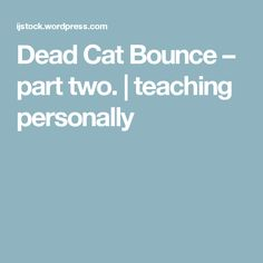 Dead Cat Bounce – part two. | teaching personally